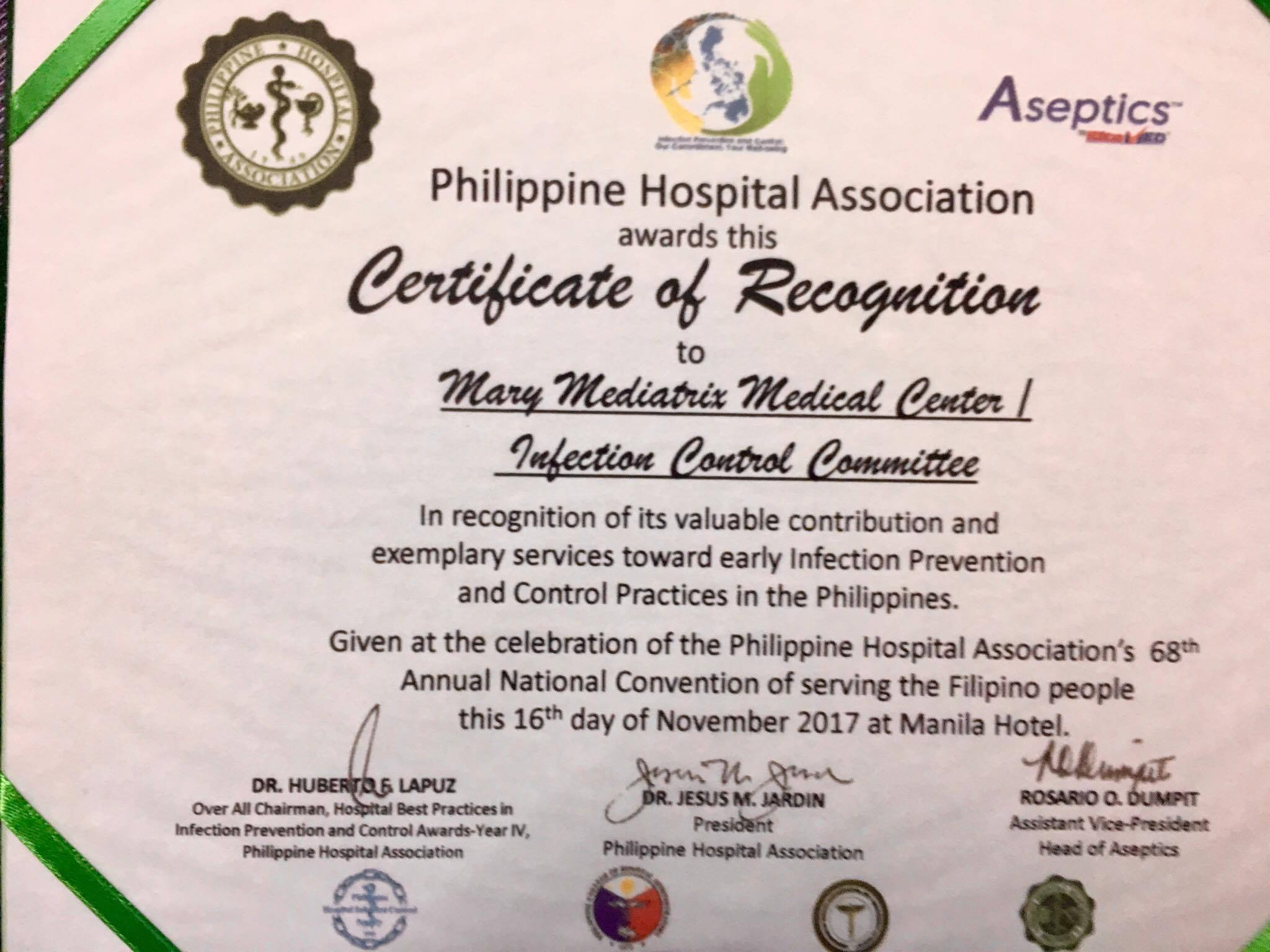 PHA RECOGNITION FOR MMMC INFECTION CONTROL COMMITTEE | Mary ...